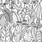 Tropical flowers and plants seamless pattern. Floral outline wallpaper on white background.