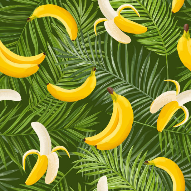 Tropical Seamless Pattern with Banana and Palm Leaves. Summer Floral Exotic Background for Wallpaper, Fabric, Wrapping Paper. Vector illustration Tropical Seamless Pattern with Banana and Palm Leaves. Summer Floral Exotic Background for Wallpaper, Fabric, Wrapping Paper. Vector illustration banana patterns stock illustrations
