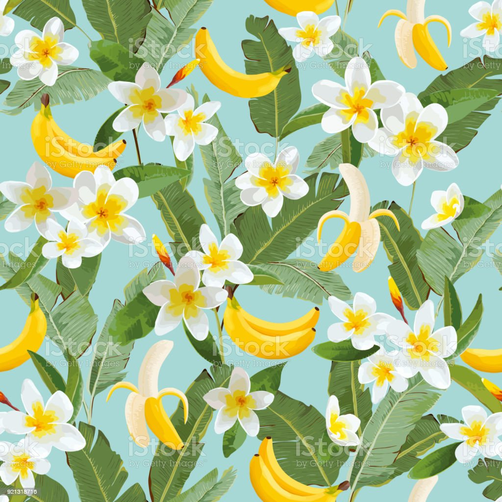 Tropical Seamless Pattern With Bananas And Palm Leaves Summer