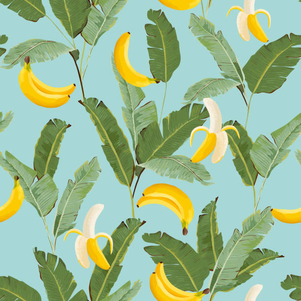 Tropical Seamless Pattern with Bananas and Palm Leaves. Summer Floral Background for Wallpaper, Fabric, Wrapping Paper. Vector illustration Tropical Seamless Pattern with Bananas and Palm Leaves. Summer Floral Background for Wallpaper, Fabric, Wrapping Paper. Vector illustration banana patterns stock illustrations