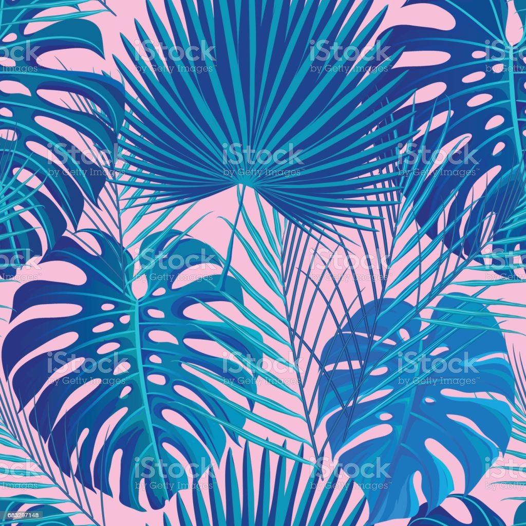 Tropical seamless pattern with exotic palm leaves. vector art illustration
