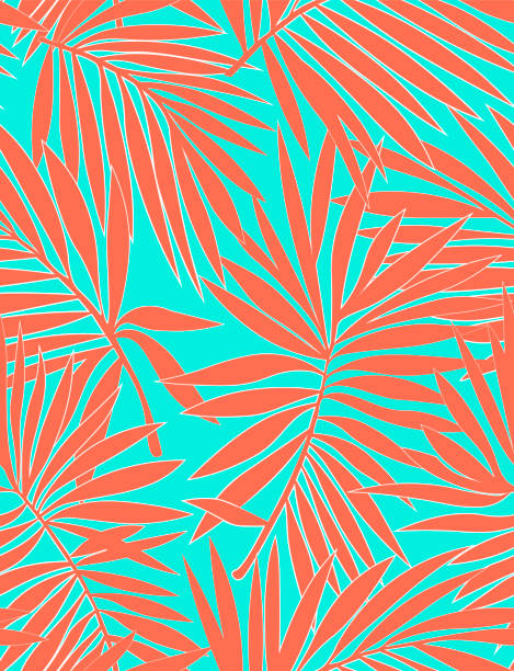 Tropical seamless pattern with exotic palm leaves. Vector illustration. Nature seamless pattern. Hand drawn abstract tropical summer background : palm tree leaves in silhouette, line art. Flat jungle prints. Tropical seamless pattern with exotic palm leaves. Vector illustration. Nature seamless pattern. Hand drawn abstract tropical summer background : palm tree leaves in silhouette, line art. Flat jungle prints. beach designs stock illustrations