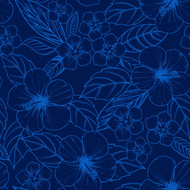 Tropical seamless pattern with exotic plants and hibiscus flowers. Tropical seamless pattern with exotic plants and hibiscus flowers. Vector illustration. hawaiian culture stock illustrations