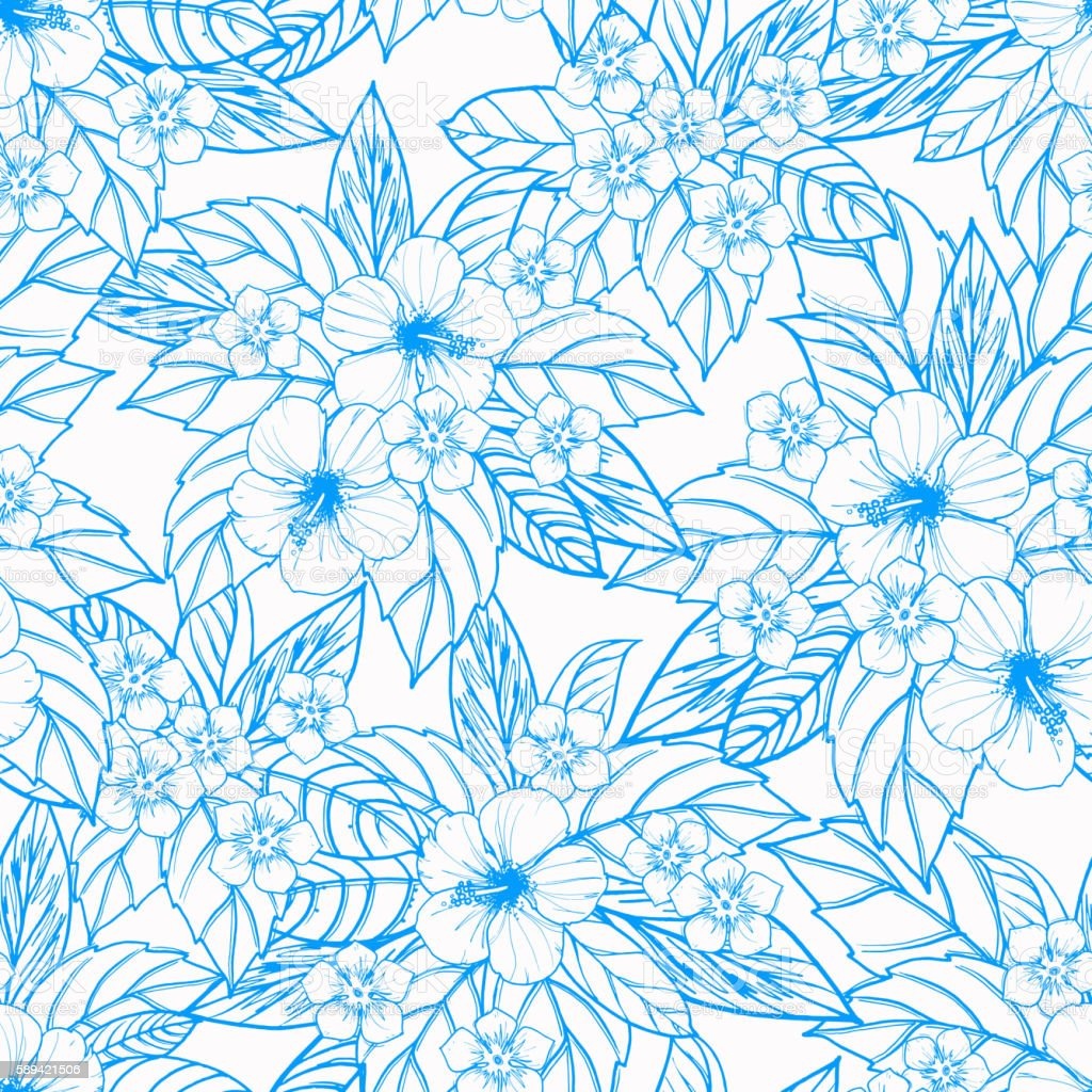 Tropical seamless pattern with exotic plants and hibiscus flowers. vector art illustration