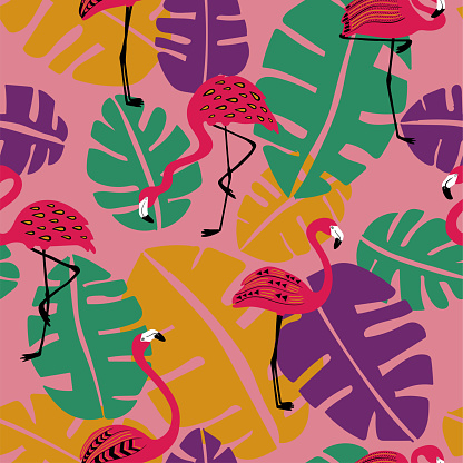 Tropical Seamless Pattern With Flamingo.