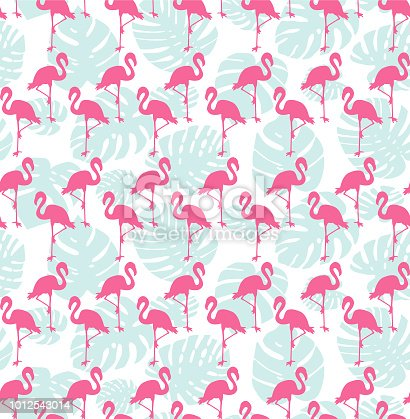 Flamingo and tropical leaf seamless pattern background