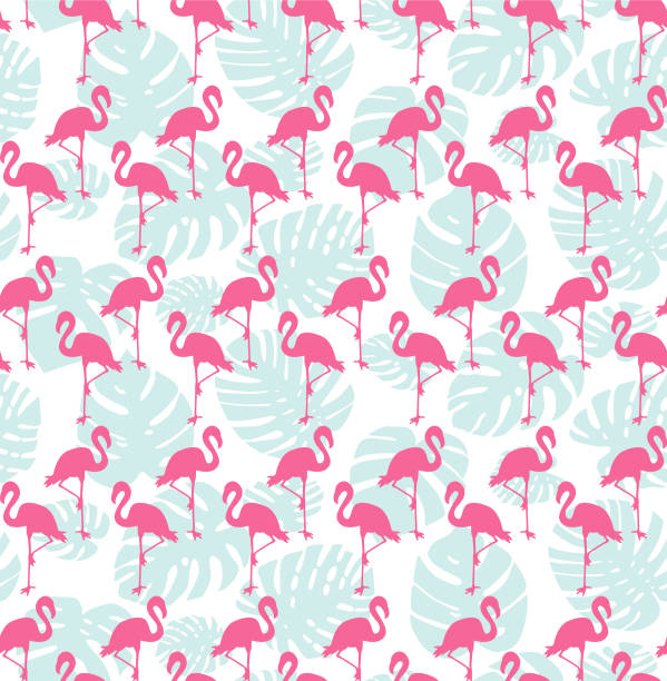 tropical seamless pattern with flamingos and mint green palm leaves - flamingo stock illustrations