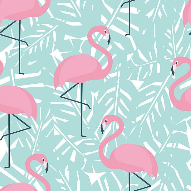 ilustraciones, imágenes clip art, dibujos animados e iconos de stock de patrón continuo tropical con flamencos y menta verde hojas de palma - moda de verano