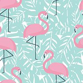 Tropical seamless pattern with flamingos and mint green palm leaves