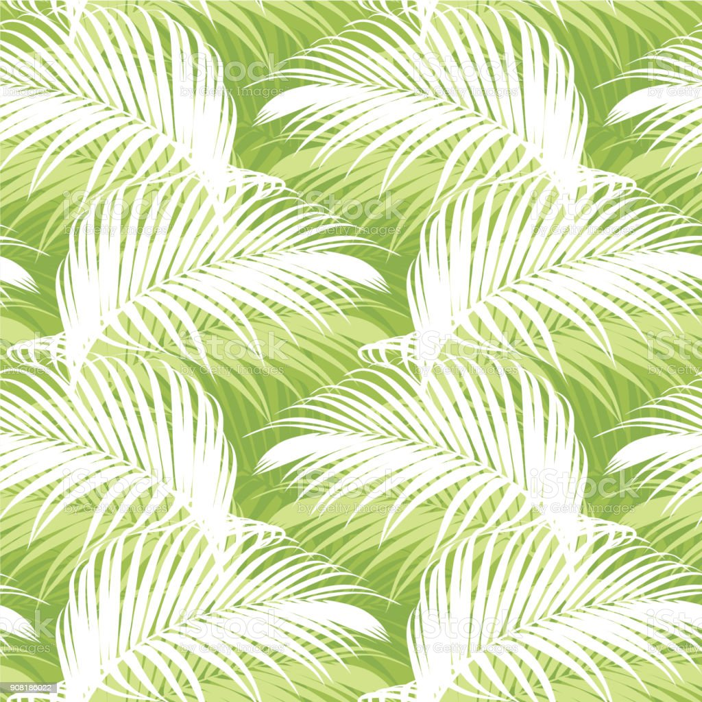 Tropical seamless pattern with green palm leaf background.