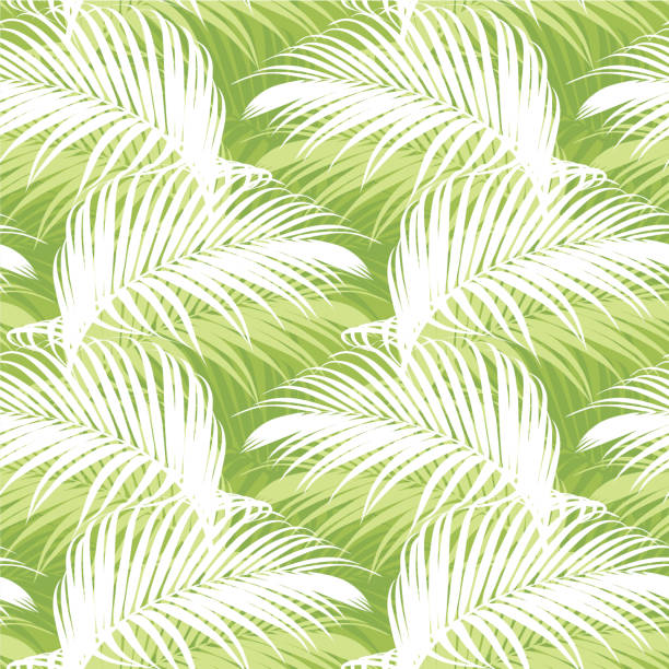tropical seamless pattern with green palm leaf background. - palm leaf stock illustrations, clip art, cartoons, & icons