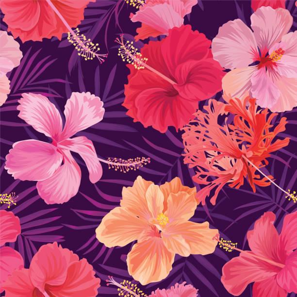 tropischen musterdesign mit hibiskus blumen und palmen blätter hintergrund. - hibiskusgarten stock-grafiken, -clipart, -cartoons und -symbole