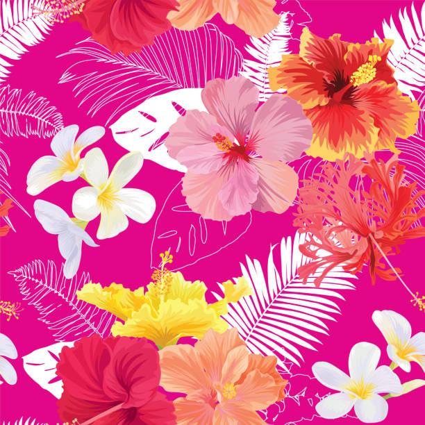 tropischen musterdesign mit hibiskusblüten, plumeria und blatt auf rosa hintergrund. - hibiskusgarten stock-grafiken, -clipart, -cartoons und -symbole