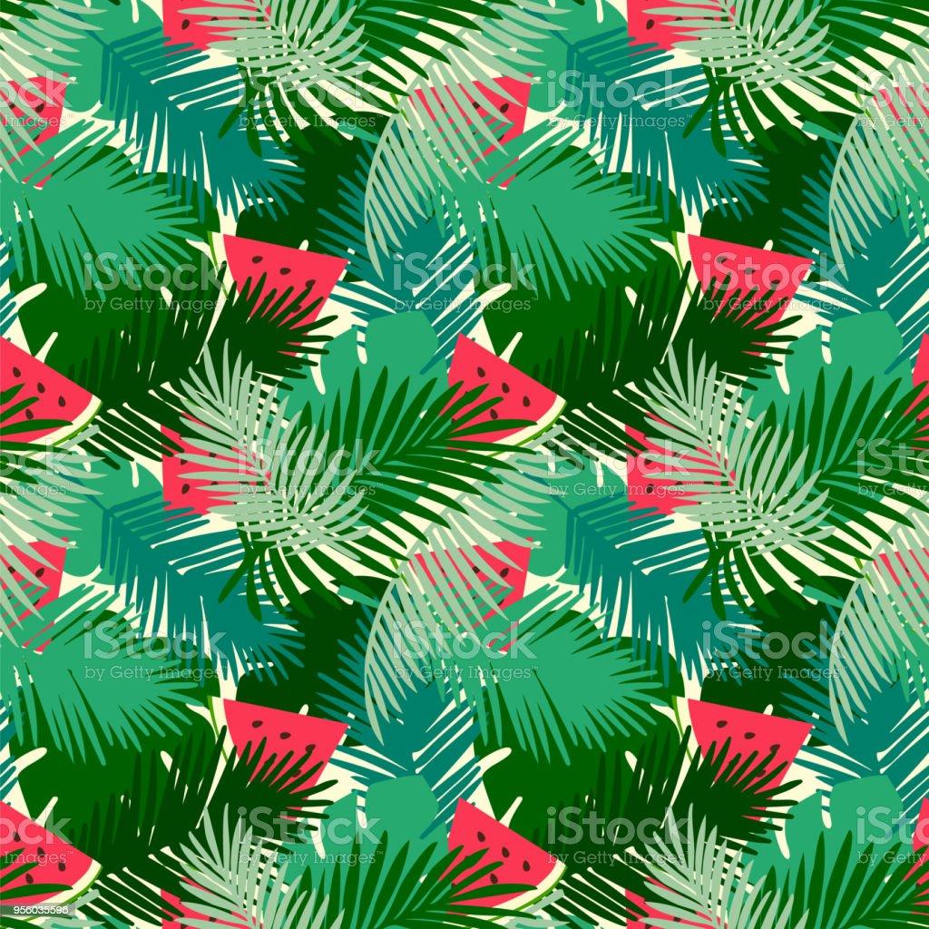 feuilles de tropical modèle sans couture avec la jungle et pastèque
