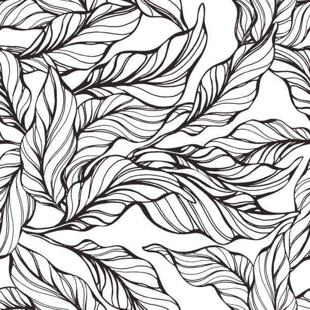 熱帶無縫圖案與自然葉 - 葉狀花紋 幅插畫檔、美工圖案、卡通及圖標