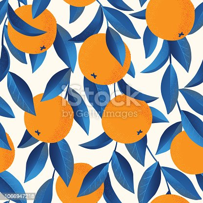 Tropical seamless pattern with oranges. Fruit repeated background. Vector bright print for fabric or wallpaper.
