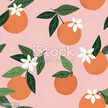 istock Tropical seamless pattern with oranges on a pink background. Fruit repeated background. Vector bright print for fabric or wallpaper. 1270132070