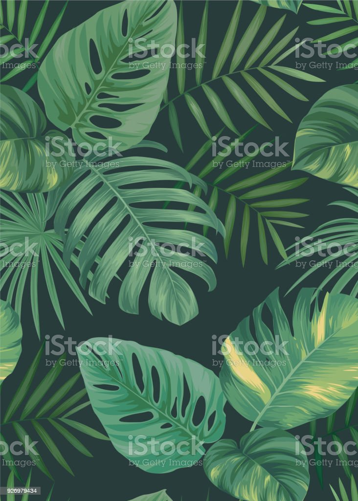 Tropical seamless pattern with palm leaves background. royalty-free tropical seamless pattern with palm leaves background stock illustration - download image now
