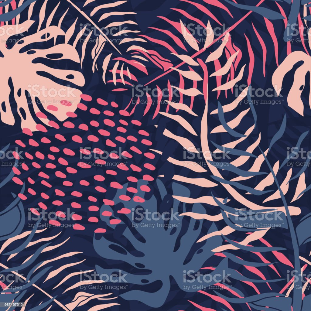 Tropical seamless pattern with palm leaves. Summer floral pattern with pink palm leaves and monstera foliage on dark background.seamless pattern for textile industry