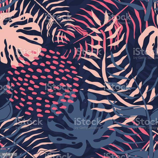 Tropical seamless pattern with palm leaves summer floral pattern with vector id937467512?b=1&k=6&m=937467512&s=612x612&h=mec563v5npigreuzxapomf3ryqq0bey60vipqtxnsbs=