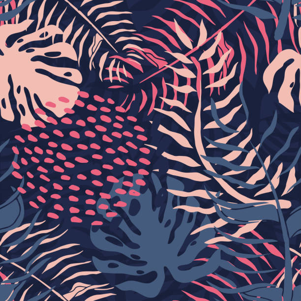 tropical seamless pattern with palm leaves. summer floral pattern with pink palm leaves and monstera foliage on dark background.seamless pattern for textile industry - vintage nature stock illustrations, clip art, cartoons, & icons