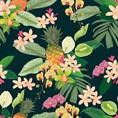 Tropical seamless pattern with pineapple, flowers and leaves on dark green color background. Vector set of exotic tropical garden for wedding invitations and greeting card design.