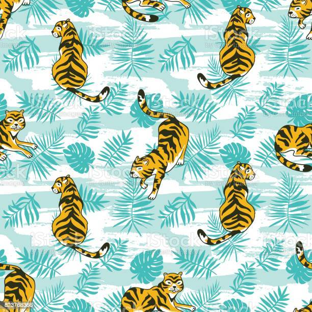 Tropical seamless pattern with tigers and palm leaves vector design vector id823768366?b=1&k=6&m=823768366&s=612x612&h=dw kmakfgnqnpdntd9nuc 4n3rwazq39nvljp6iejem=