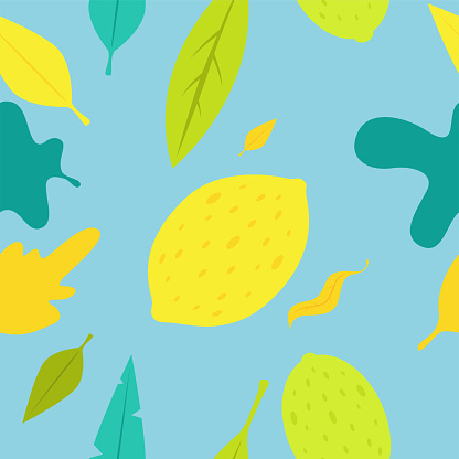 Tropical seamless pattern with yellow lemon