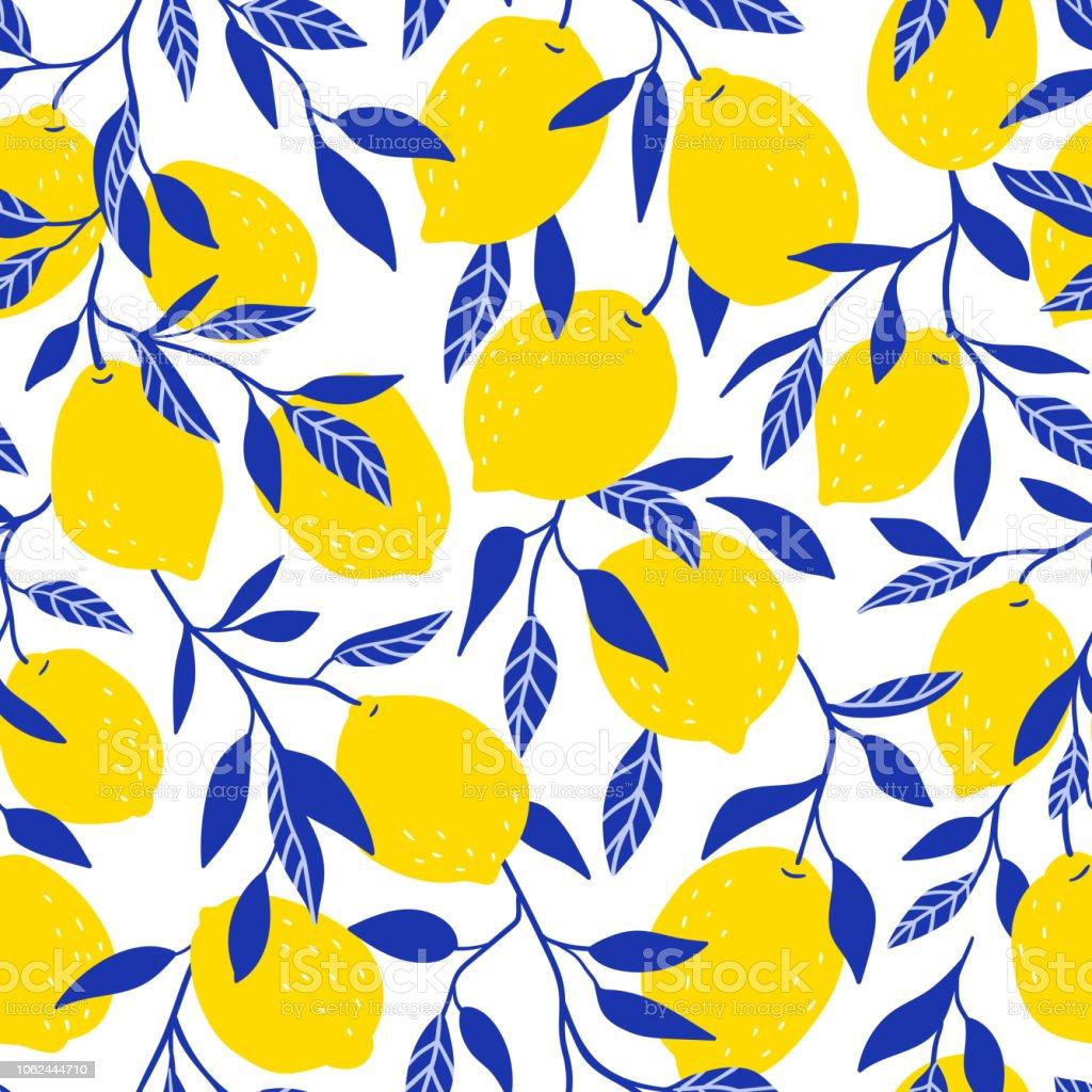 黄色いレモンと熱帯のシームレスなパターン果物には背景が繰り返され