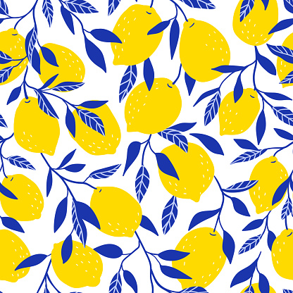 Tropical Seamless Pattern With Yellow Lemons Fruit Repeated Background Vector Bright Print For Fabric Or Wallpaper Stock Illustration - Download Image Now