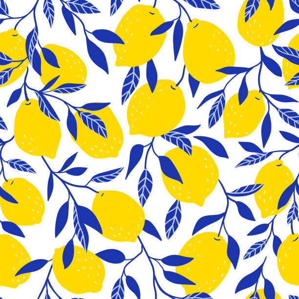 Tropical seamless pattern with yellow lemons. Fruit repeated background. Vector bright print for fabric or wallpaper. Tropical seamless pattern with yellow lemons. Fruit repeated background. Vector bright print for fabric or wallpaper. citrus fruit stock illustrations