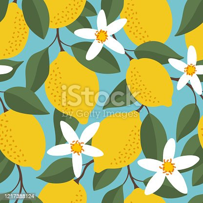istock Tropical seamless pattern with yellow lemons. Fruit repeated background. Vector bright print for fabric or wallpaper. 1217388124