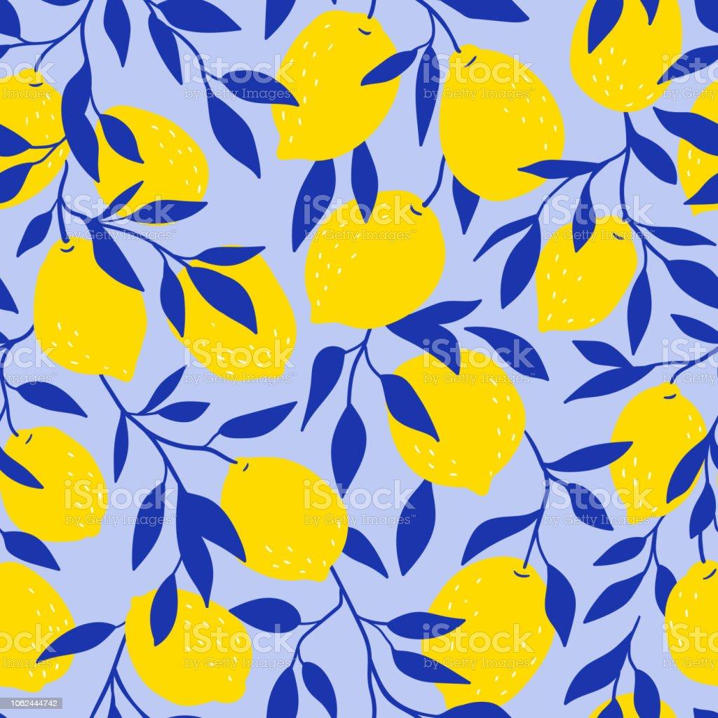 青い背景に黄色いレモンと熱帯のシームレスなパターン果物には背景が