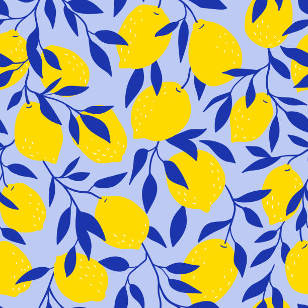 Tropical seamless pattern with yellow lemons on the blue background. Fruit repeated background. Vector bright print for fabric or wallpaper. Tropical seamless pattern with yellow lemons on the blue background. Fruit repeated background. Vector bright print for fabric or wallpaper. lemon fruit stock illustrations