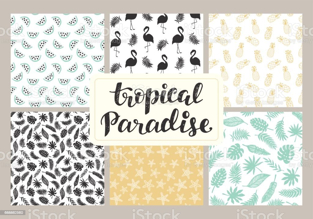 Tropical seamless patterns collection – artystyczna grafika wektorowa