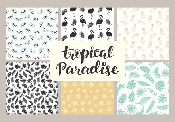 Tropical seamless patterns collection – artystyczna grafika wektorowa