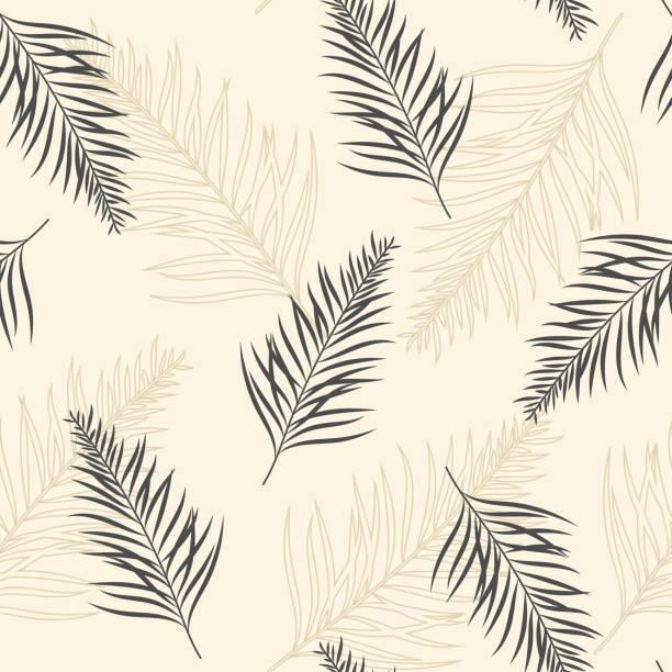 illustrazioni stock, clip art, cartoni animati e icone di tendenza di tropical seamless repeat pattern - exotic leaves on a beige background. - beige