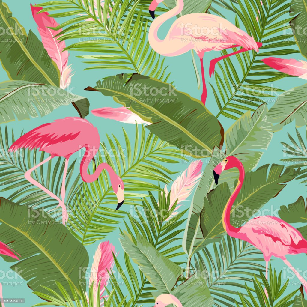 Tropical Seamless Vector Flamingo and Floral Summer Pattern. For Wallpapers, Backgrounds, Textures, Textile, Cards. - Royalty-free Arts Culture and Entertainment stock vector