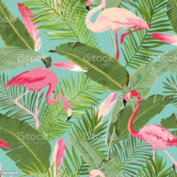 Tropical Seamless Vector Flamingo And Floral Summer Pattern For Wallpapers Backgrounds Textures Textile Cards Stock Illustration - Download Image Now
