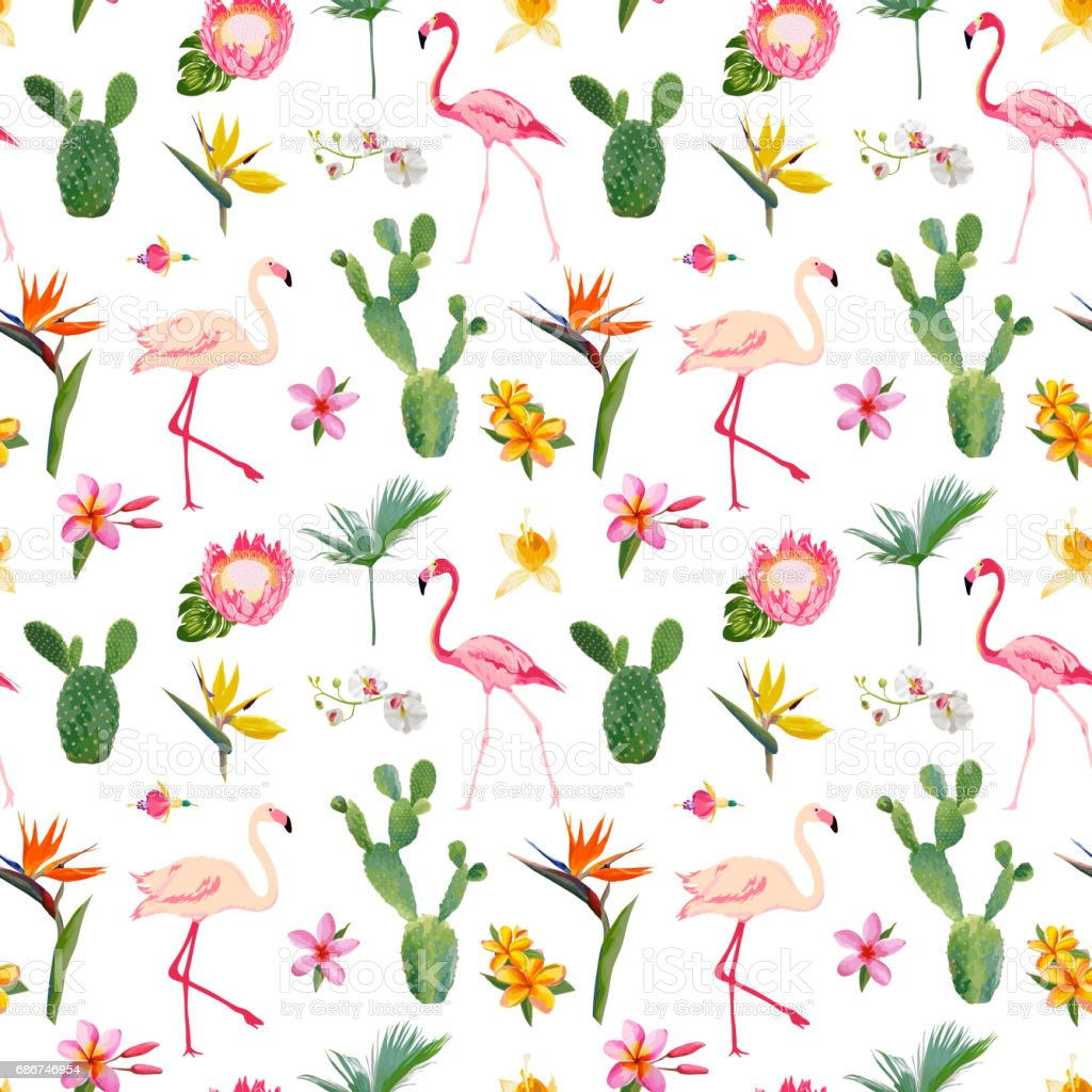 Tropical Seamless Vector Floral Summer Pattern For Wallpapers