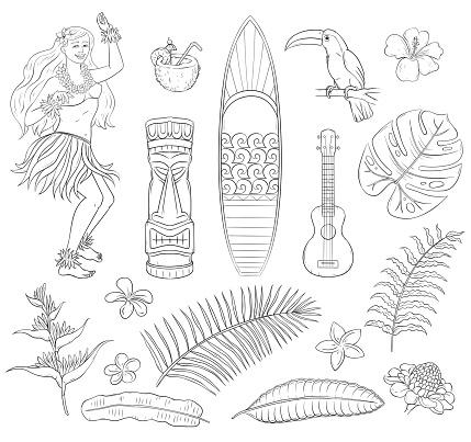 Tropical set of summer Hawaii symbols - plants, flowers, ukulele, tiki mask