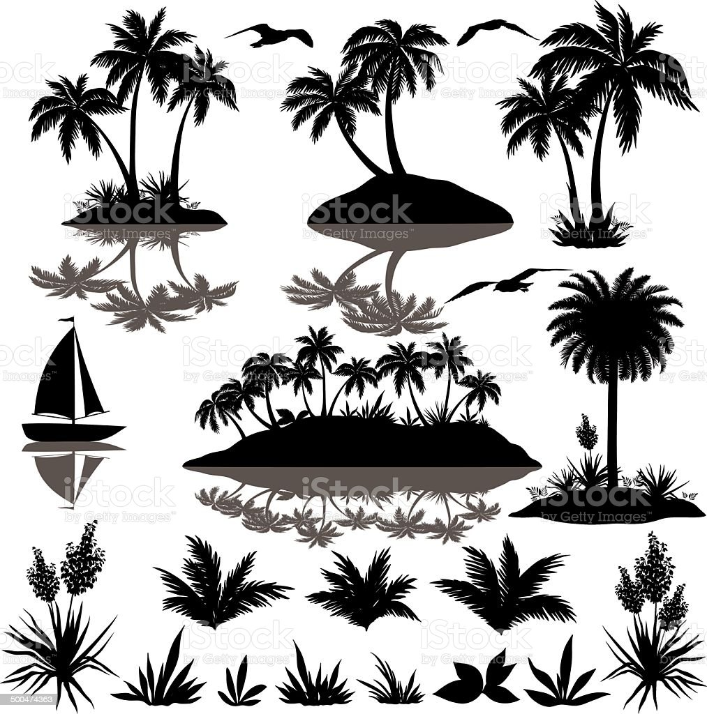 Tropical set with palms silhouettes vector art illustration