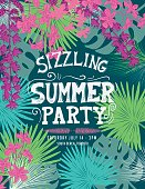 Tropical Sizzling Summer Party Invitation Template