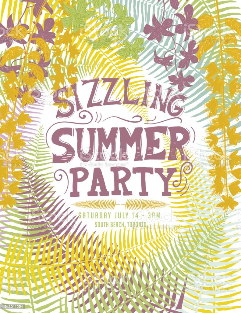 tropical sizzling summer party invitation template stock vector art