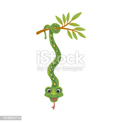 istock Tropical snake character hanging on its tail, flat vector illustration isolated. 1318324714