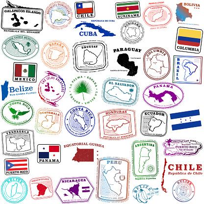Tropical Spanish speaking travel stamps and a few others