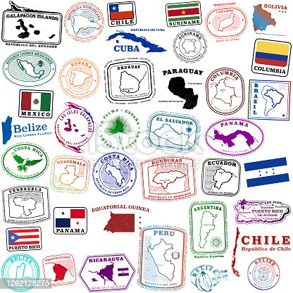 istock Tropical Spanish speaking travel stamps and a few others 1262128275