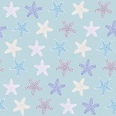Starfish background. Seamless tropical texture. Ocean illustration for wallpaper, webpage background, surface textures. Pattern fills. For decoration or printing on fabric. Fauna ornament.