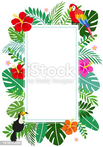 istock Tropical Summer Background Frame with Hibiscus 1318240555