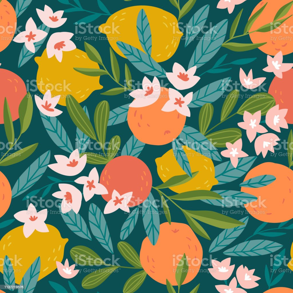 Tropical summer fruit seamless pattern. Citrus tree in hand drawn style. Vector fabric design with oranges, lemons and flowers. - Векторная графика Абстрактный роялти-фри